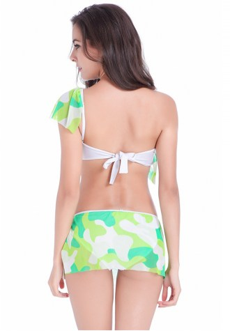 Army Green Printed One Shoulder Bikini Swimming Suit