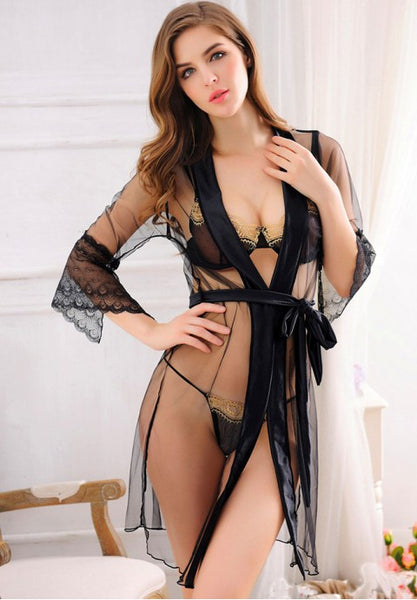 Black Sheer Robe With Bra Set