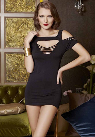 Black Cut-out Nylon Chemise Dress