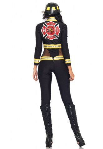 Black Firefighter  Jumpsuit Costume