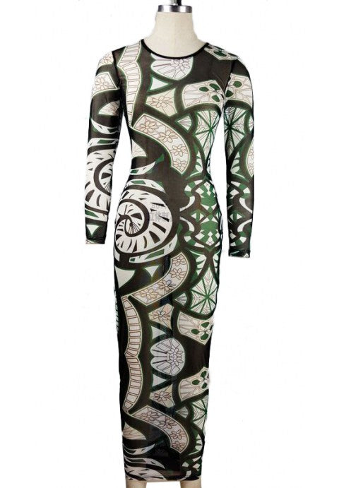 Bodycon Long Sleeve Tattoo Print Dress