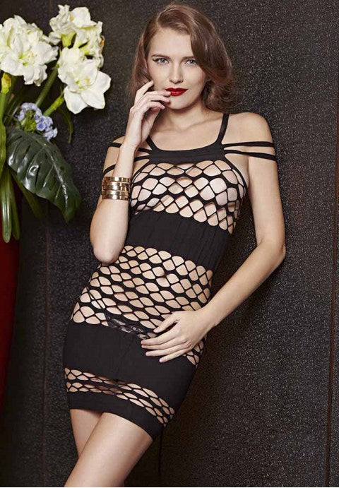 Alluring Hollow-out Chemise Dress