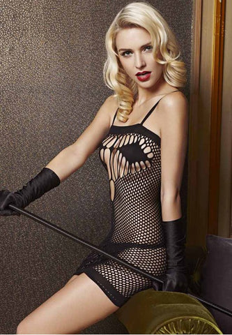 Black Fishnet Chemise Dress