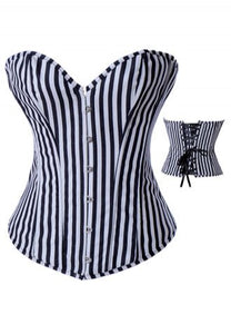 Black Striped Denim Corset