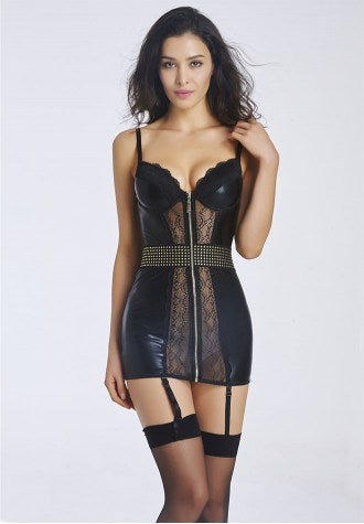 Black Faux Leather Chemise