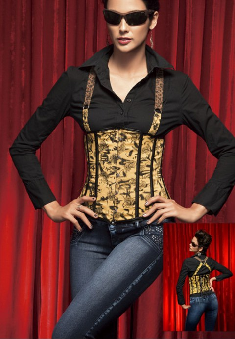Adjustable Strap Corset With Heart Pattern Printed