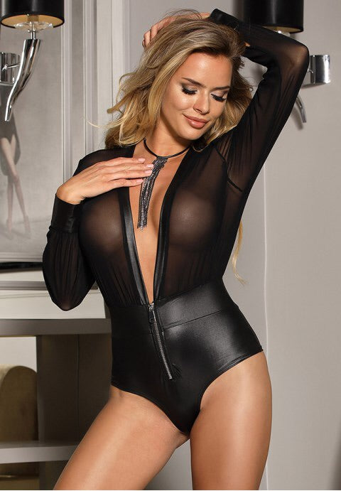 Black V-neck Zipper Faux Leather Teddy