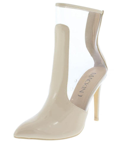 COVERED POINTED TOE LUCITE STILETTO BOOT