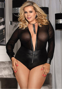 Plus Size Black V-neck Zipper Faux Leather Teddy