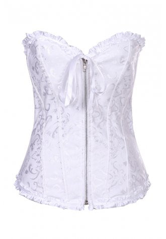 Bridal Embroidered Ruffled Trim Zipper Corset