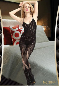 Black Mesh and Fishnet Open Crotch Bodystocking