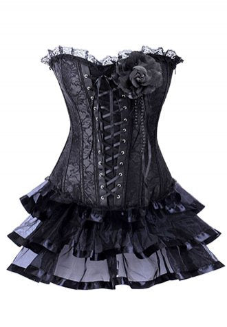 Black Lace Corset With Multilayer Skirt