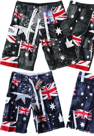 Australia Flag Pattern Print  Men's Beach Shorts
