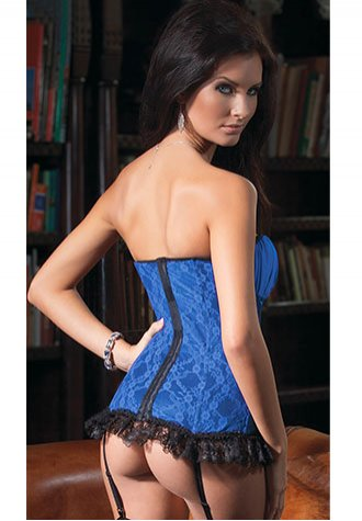 Blue and Black Lace Corset