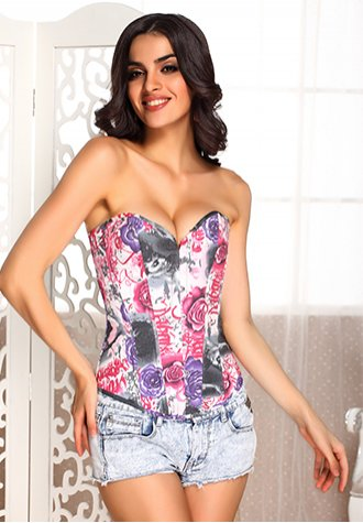 Beauty Floral Print Denim Corset