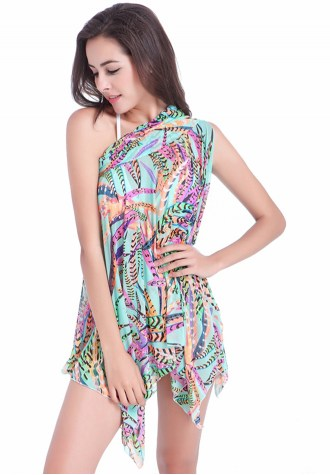 Blue Plumage Printed Swimwear Dress