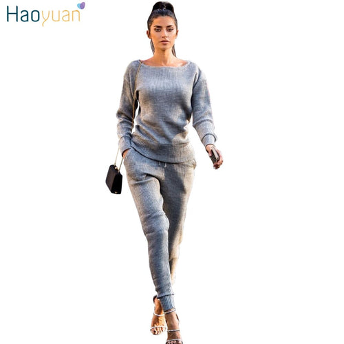 HAOYUAN Women's Sweater Sets Top+Long Pants Knitted Tracksuit Outfit Sweat Suit Autumn Winter Clothing Casual 2 Two Piece Set