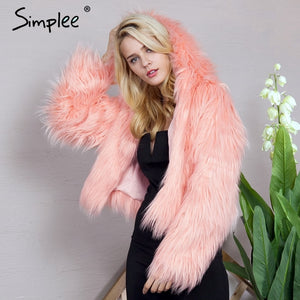 Simplee Warm hooded pink faux fur coat women Fluffy long sleeve female outerwear 2017 winter black coat jacket hairy overcoat
