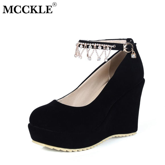 MCCKLE Flock Women Wedges Buckle Strap Female Shoes Crystal String Bead High Heels Woman Pumps For Party Wedding Shoe