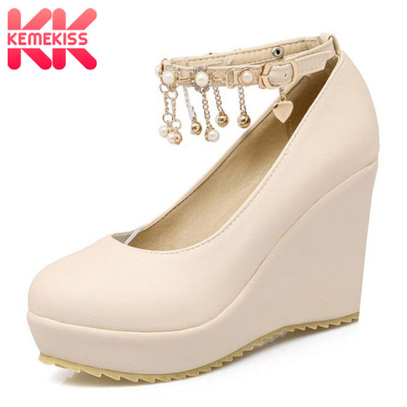KemeKiss Large Size 33-43 Spring Summer Wedges High Heels Women Shoes Woman Pumps Sweet Comfortable Platform Shoes