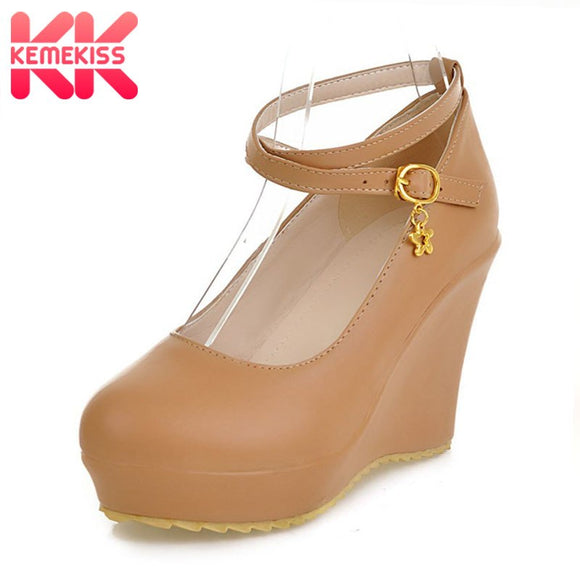 KemeKiss free shipping high heel wedge shoes platform fashion women dress sexy pumps heels P12274  hot sale EUR size 34-43