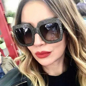 4845dfbc62cb Square Sunglasses Women 2018 Vintage Oversized Crystal Sun Glasses Ladies  Luxury Brand Designer Diamond Retro Big
