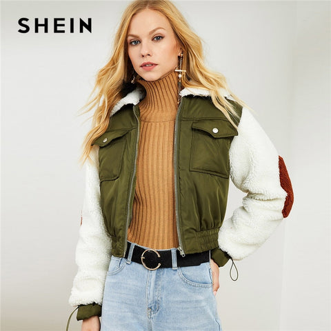 SHEIN Army Green Highstreet Office Lady Faux Fur Collar and Sleeve Elastic Hem Zip Up Jacket 2018 Autumn Elegant Coats Outerwear