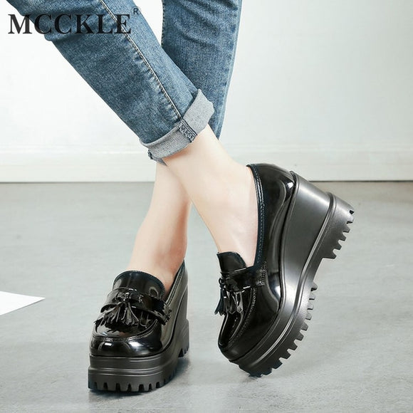MCCKLE Autumn Women Creepers Platform Casual High Heels Tassels Female Footwear Patent Leather Wedge Shoes Ladies Slip On Shoe