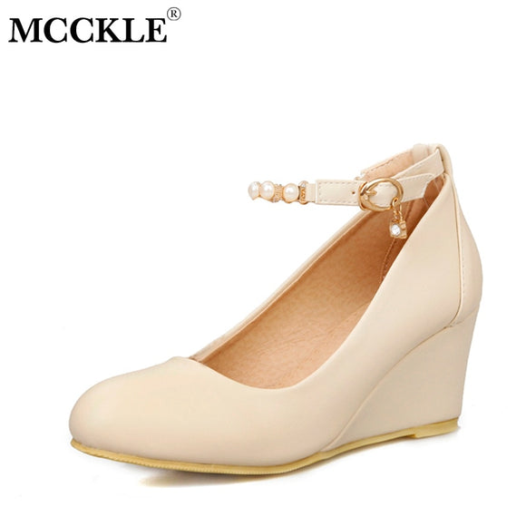 MCCKLE Women High Heels Fashion Buckle Strap Spring Female Shoes Beading Woman Wedges Ladlies Shoe Plus Size Sweet Round Toe