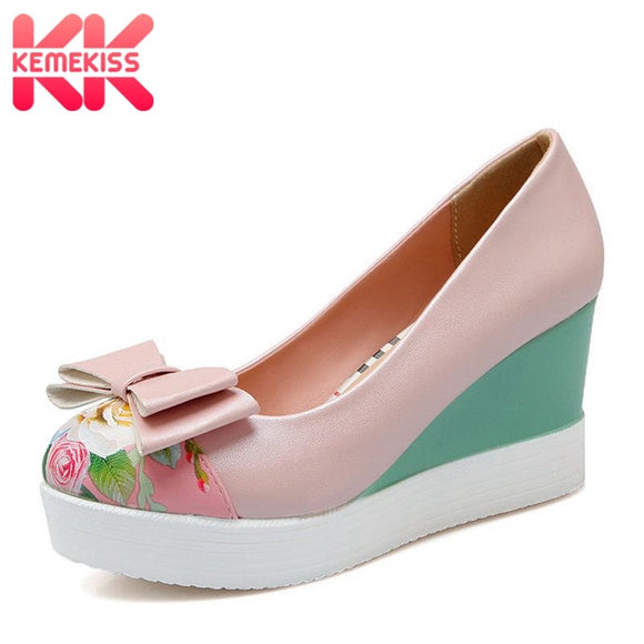 KemeKiss Size 33-42 Ladies High Heel Shoes Women Wedges Boewtie Platform Pumps Female Mixed Color Print Round Toe Casual Shoes