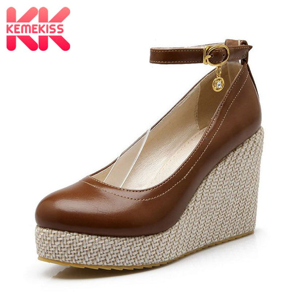 KemeKiss Size 32-43 High Wedges Pumps Women Ankle Strap Round Toe High Heels Shoes Women Platform Fashion Office Lady Footwear