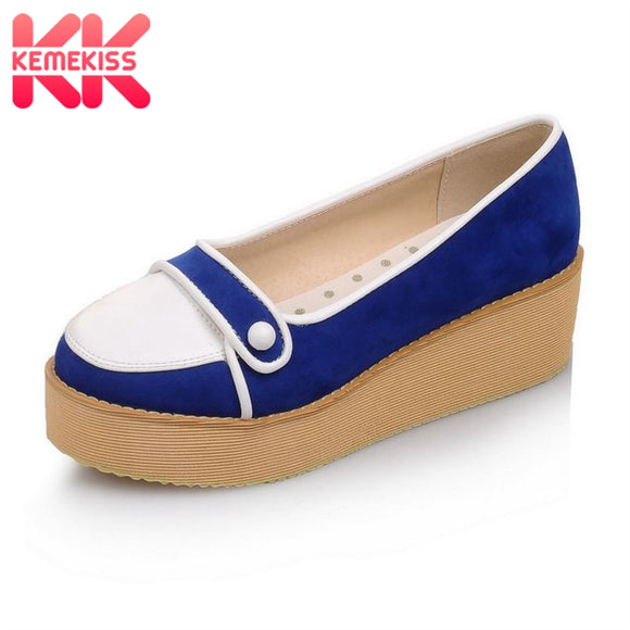 KemeKiss Size 32-43 Women Wedges Shoes Mixed Color Platform Thick Bottoms Pumps Woman Daily Party Club Shoes Women Footwears