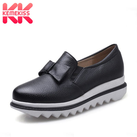 KemeKiss Size 32-43 Women Punmps Round Toe Bowknot Slip On Ladies Shoes Simple Fashion For Vacation Daily Footwear