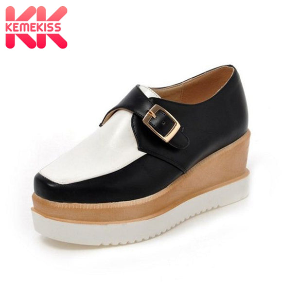 KemeKiss 4 Colors Office Lady High Wedges Shoes Woman Platform Buckle Trifle Pumps Women Thick Bottoms Women Shoes Size 34-39