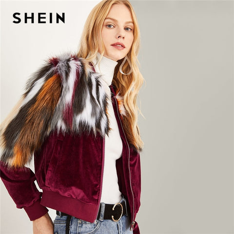 SHEIN Multicolor Elegant Office Lady Zipper Up Colorful Faux Fur Jacket 2018 Autumn Streetwear Workwear Women Coat Outerwear