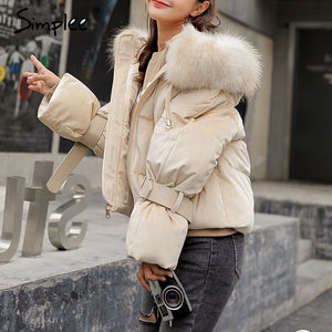 Simplee Elegant hooded fur colllar women parkas coat Winter zipper belt lace up cotton warm coat Gold velvet thicken outwear