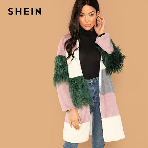 SHEIN Multicolor Casual Color Block Contrast Faux Fur 3/4 Sleeve Elegant Coat Winter Modern Lady Thermal Women Coat Outerwear