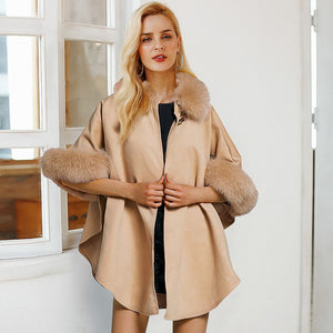 Simplee Elegant faux fur loose wool women cloak coat Winter solid three-quarter sleeve cape overcoat Sexy Manteau Femme Hiver