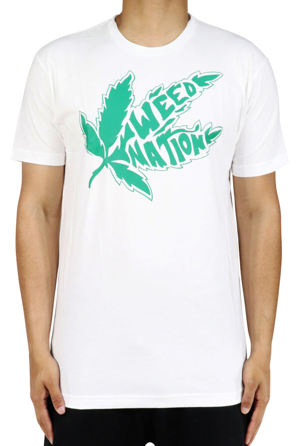 WHITE SHORT SLEEVE WEED NATION T-SHIRT