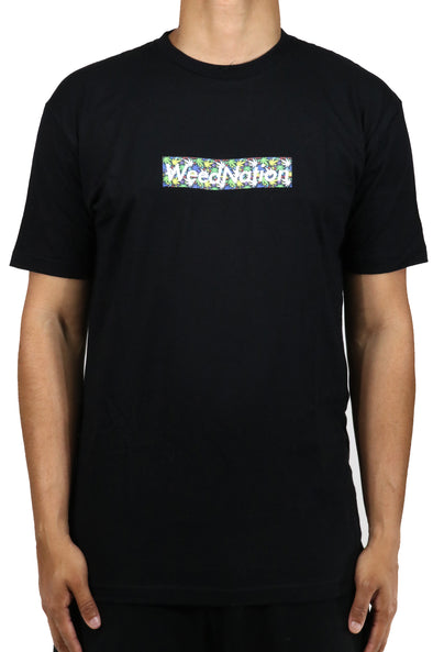 WEED NATION LOGO BLACK T-SHIRT( WITH WEED IMPRINT)
