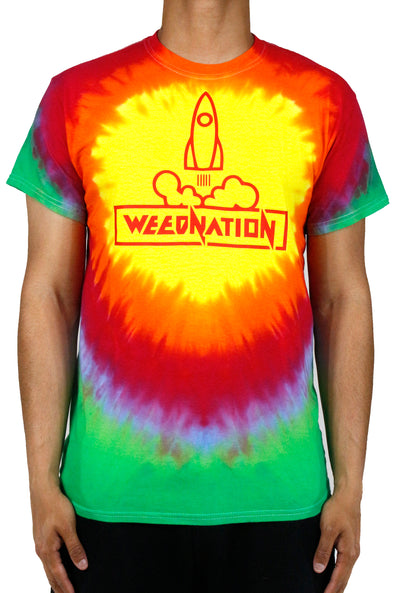YELLOW/RED TYE DIE WEED NATION ROCKET T-SHIRT