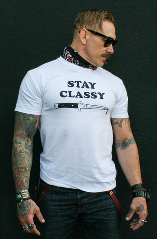 Stay Classy Switchblade Tee - White