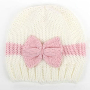 Hand Knit Baby Hat With Bow
