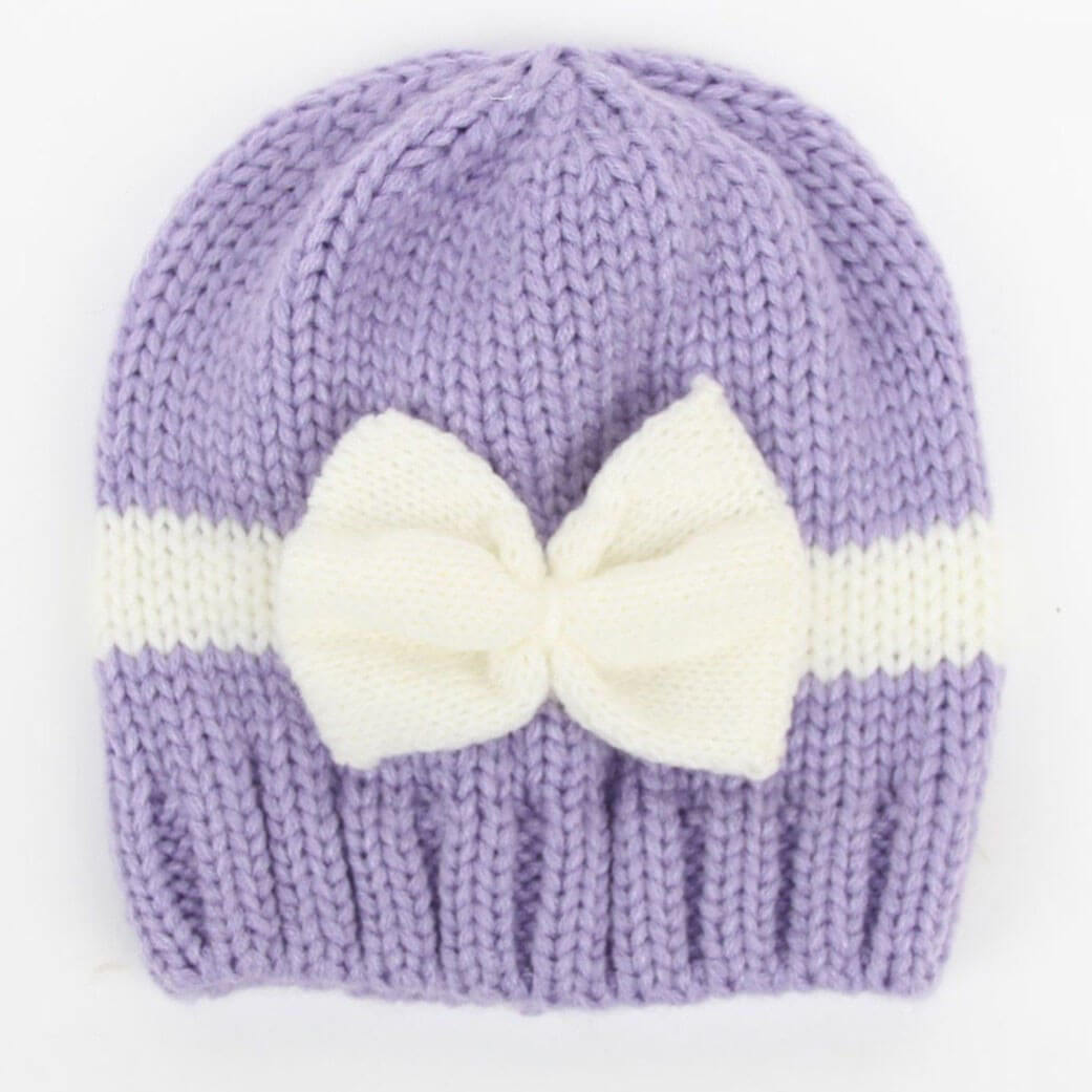 Hand Knit Baby Hat With Bow – Sunny Baby Bunny 0ca9fbec22f