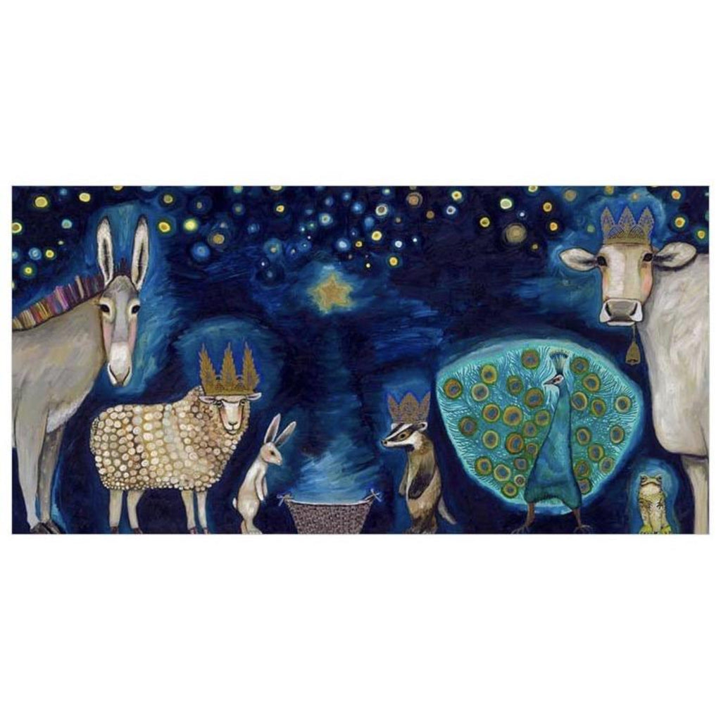 Animal Nativity Canvas Wall Art 30x15
