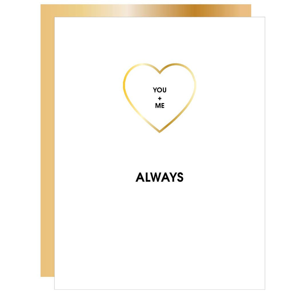 You + Me Always - Heart Paper Clip Greeting Card