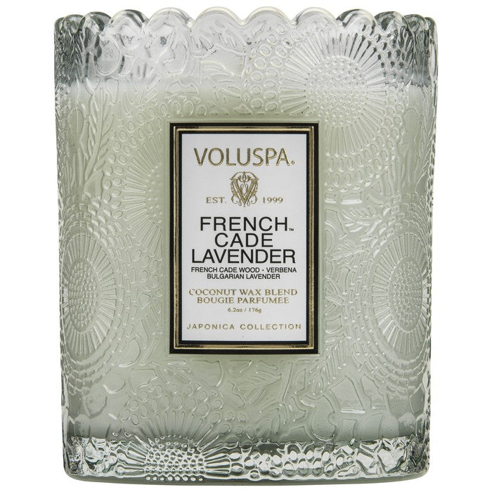 Voluspa French Cade Lavender Boxed Scalloped Candle