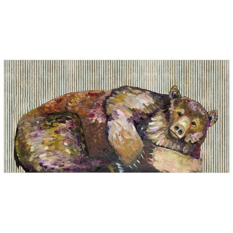 Grizzly Bear Dreams with Gold Stripes Canvas Wall Art 48x24