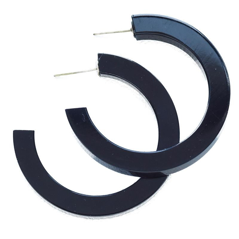 Black Lucite Small Hoop Earring