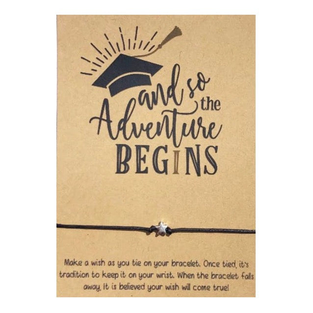 And So The Adventure Begins Wish Card and Bracelet